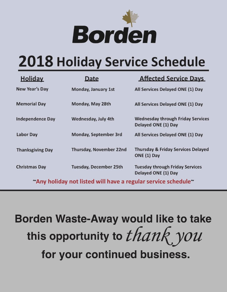 2018 Holiday Service Change
