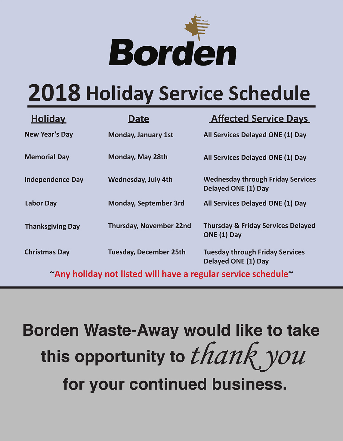 2017 Holiday Service