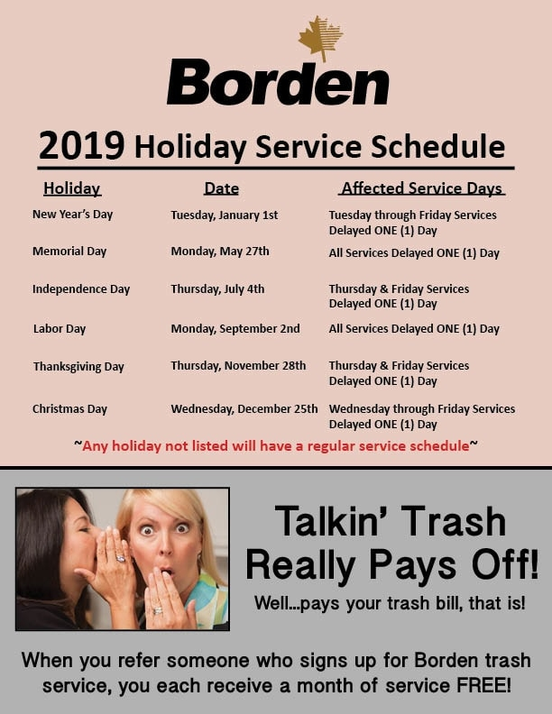 2019 Holiday Service Change