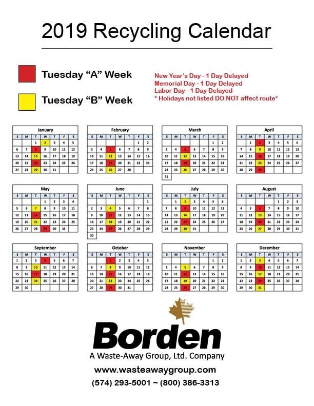 Tuesday 2019 Recycling Calendar