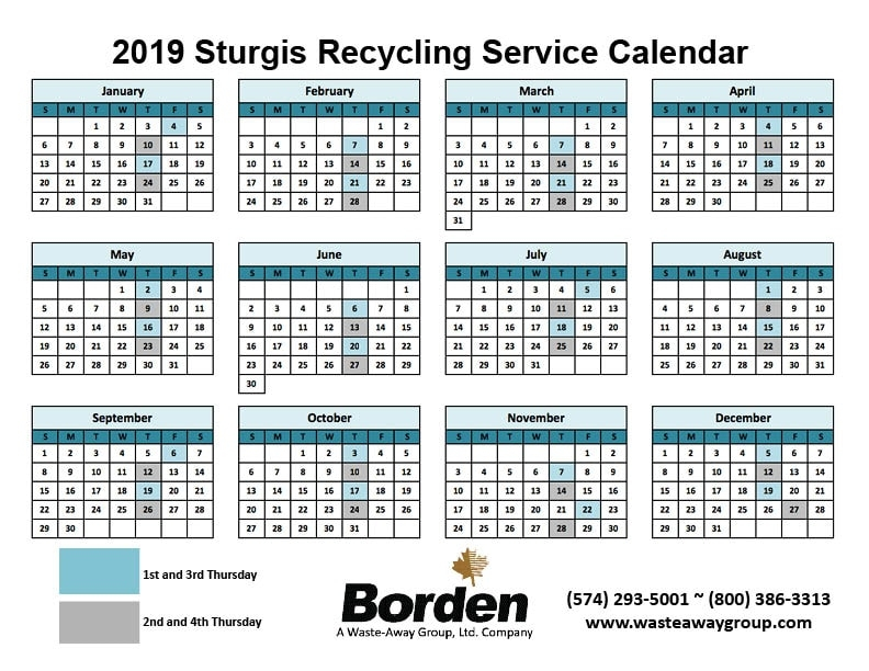 2019 Sturgis Recycling Schedule