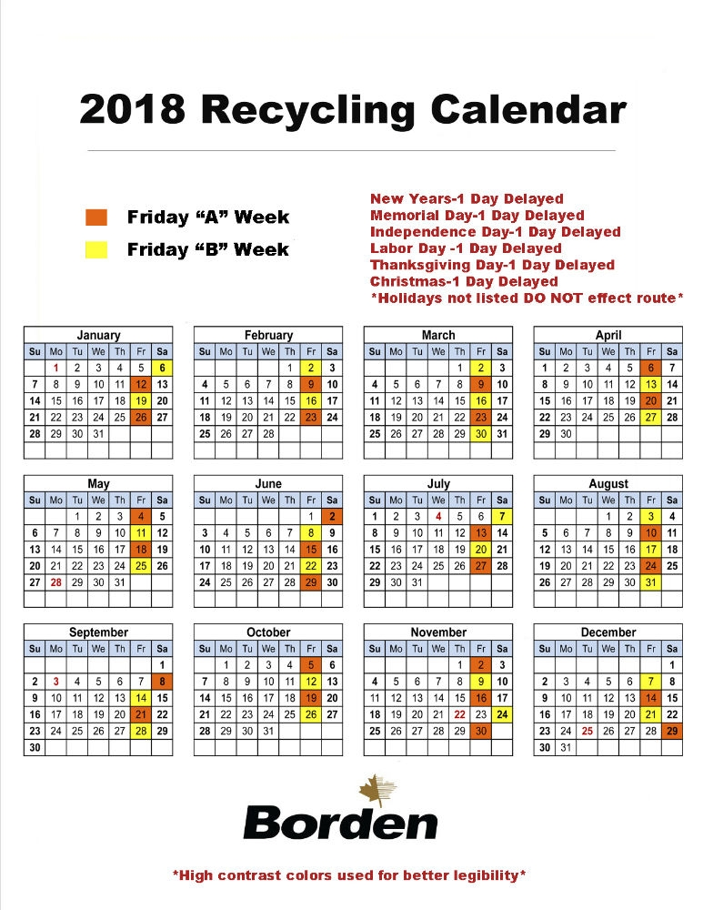 Friday Recycling 2018