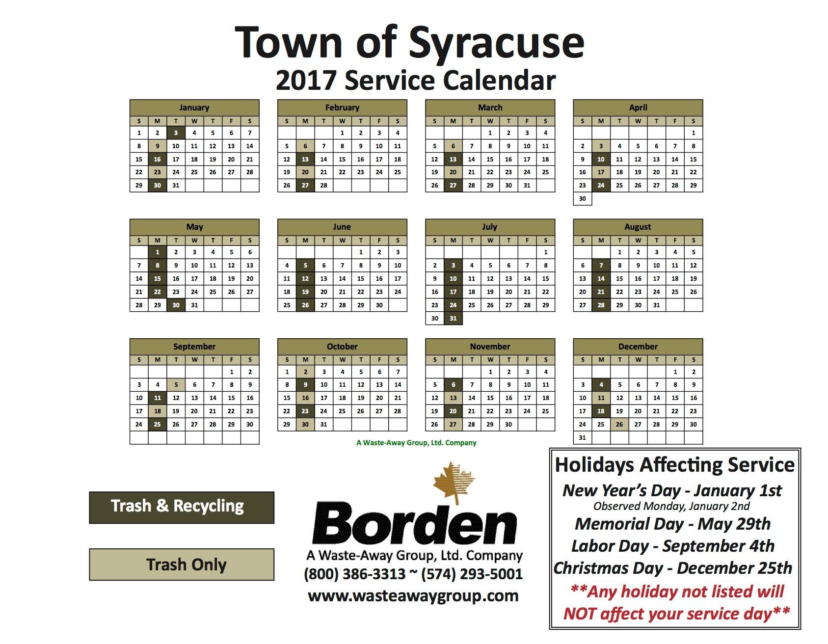 Syracuse Service Calendar