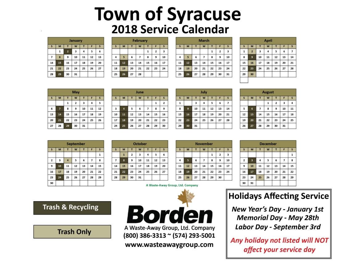 2018 Syracuse Calendar