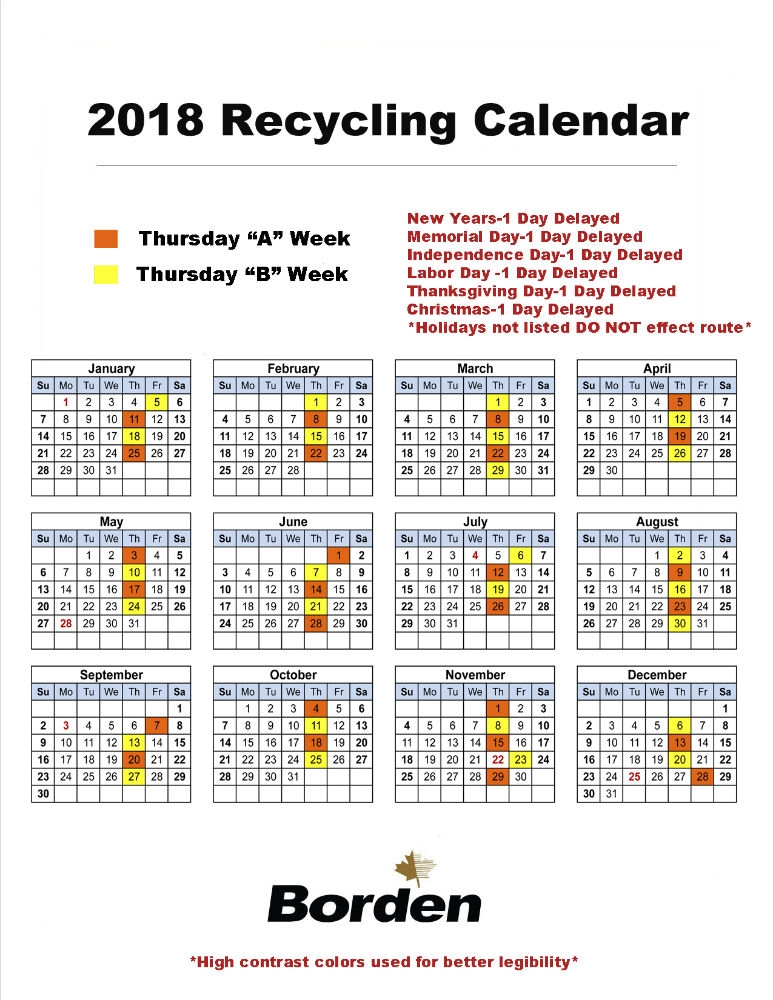 Thursday Recycling 2018
