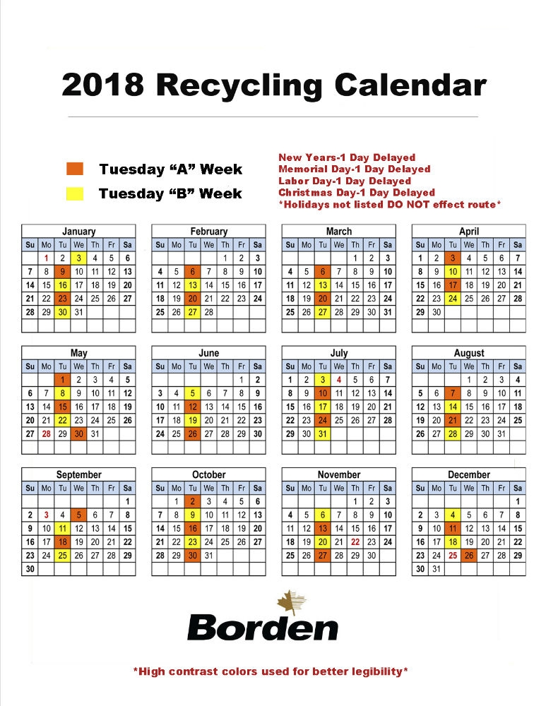 Tuesday Recycling Calendar