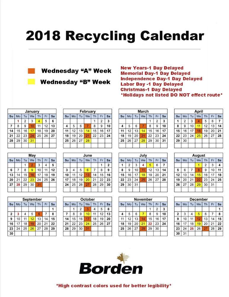 Wednesday Recycling 2018