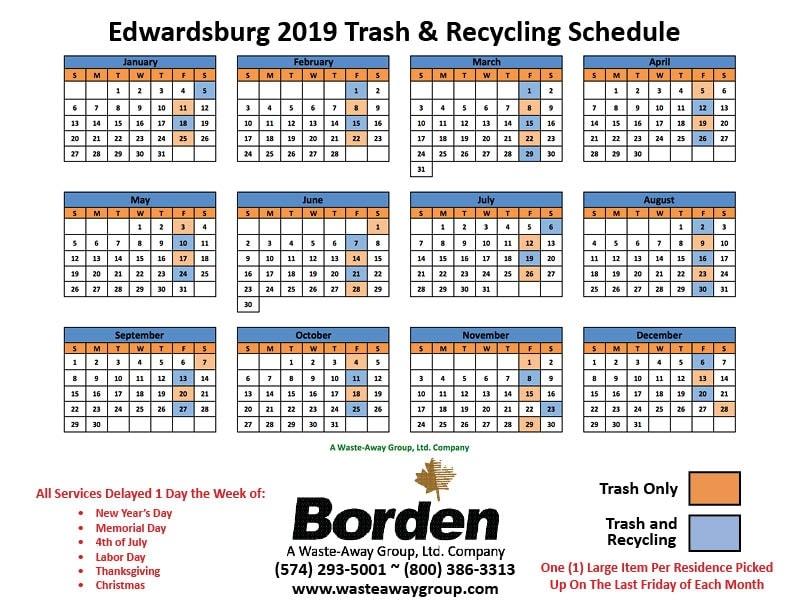 2019 Edwardsburg Service Schedule