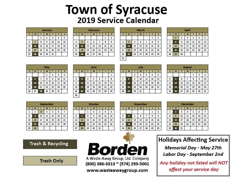 2019 Syracuse Service Calendar